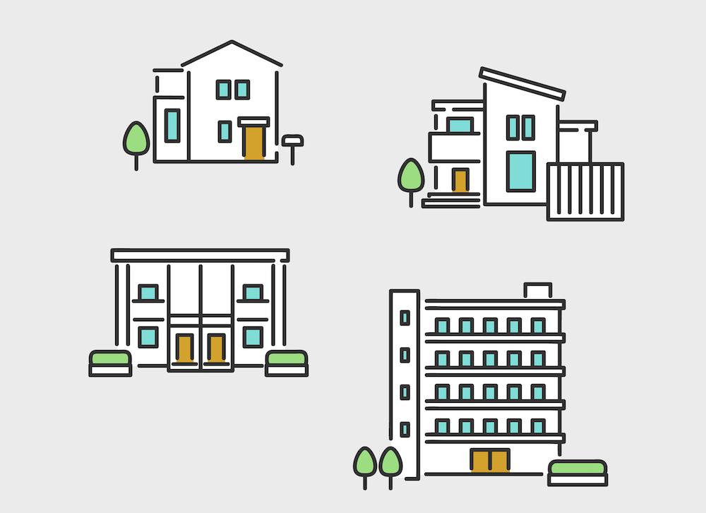 一軒家やマンションなどの不動産のイメージイラスト